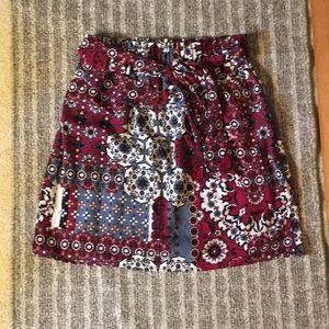 Francesca's Printed Paperbag Skirt